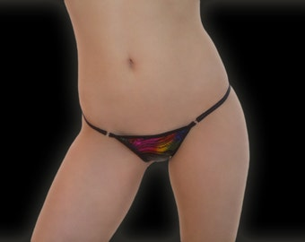 Metallic swirl design g-string thong lingerie underwear