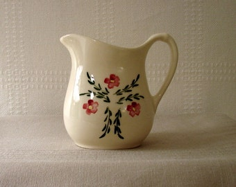 Cream Pitcher, Pink Flowers