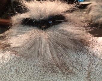 Grey Needle Felted Persian kitten-Gothic Familiar-Cat Companion