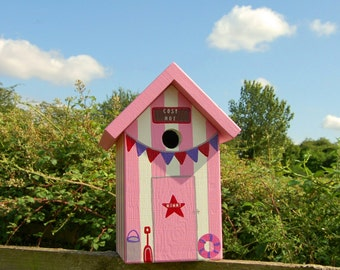 Beach Hut Personalised Bird Box / Hand-made Birdhouse / Mother's Day Gift