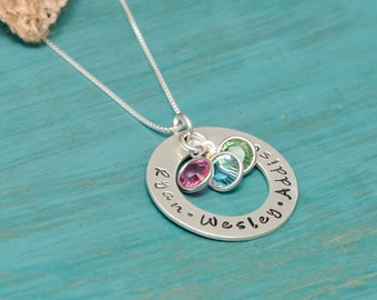 Mothers Necklace | Necklace for mom with personalized names | necklace with birthstones | Hand stamped necklace | Mother's Day