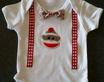 Baby Onesie - Sock Monkey Onesie with Faux Suspenders and Removable Bowtie