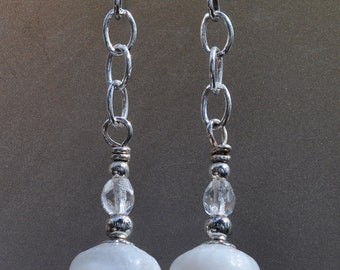 Silver and Snow White Glass Earrings