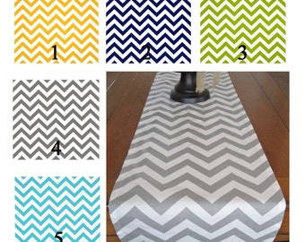 Chevron Table Runner, Yellow, Navy, Green, Gray, Aqua/  Wedding Table Runner/  Wedding Decor