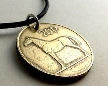 Irish coin necklace, Irish necklace, Vintage necklace, Musician's necklace, Horse necklace, Irish Harp, 19th birthday, Celtic jewelry, 1996