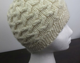 Stunning off white cable knit hat