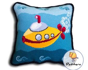 Submarine needlepoint pattern, instant digital download, yellow submarine pillow, diy needlepoint, cross stitch submarine, PDF pattern