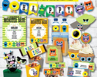 PDF format-Instant Download- Monster Birthday Party Pack- Complete party printable-for personal use only