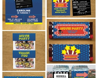 PDF format-Instant download-Cinema Movie theme birthday party pack- complete collection-for persona use only