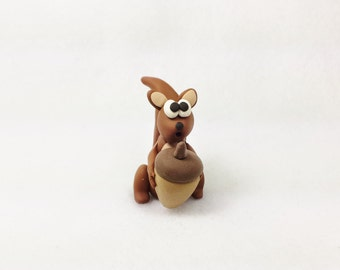 Miniature squirrel, polymer clay squirrel figurine, miniature clay squirrel, polymer clay miniature