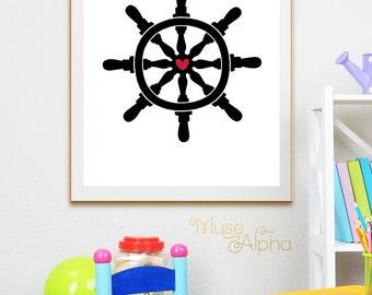 Ship's Steering Helm Print, Ship's Steering Wheel Print, Ship's Steering Art. Black and Red Art, Black Red Printable, Red Black Print Poster