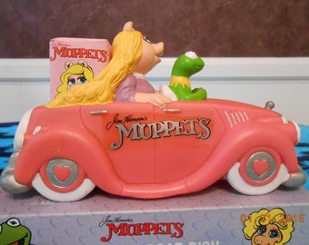 Vintage Soap Dish Muppets Pink Car Bath Toy With Soap Dish Kermit Miss Piggy Floating Soap Dish