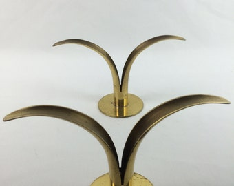 Mid Century Swedish Brass Candle Stick Holders, Made in Sweden, ystad style