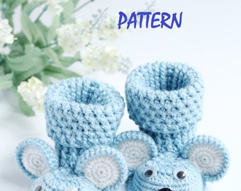 PDF PATTERN Baby Booties Mouse, Crochet booties for boy and girl, Crochet booties