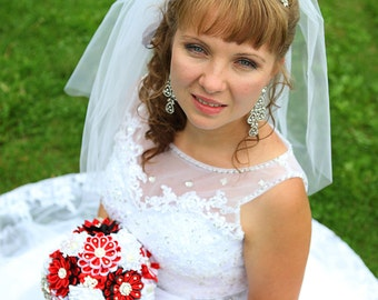 Bridal bouquet, handmade, color  black / white / red