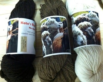 Rambouillet yarn sample, 3-ply worsted, 5 yards