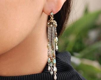 Fringe Earrings, Long Earrings, Beaded Earrings, Boho Earrings, Dangle Earrings, Teardrop Earrings Beach Earrings, Statment Earrings E1228