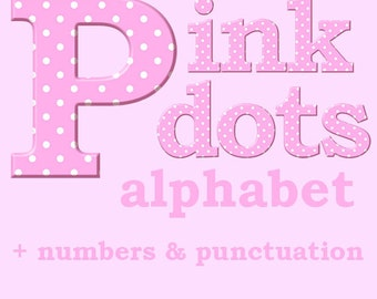 Pink polka dots digital alphabet clipart with large and small letters, numbers and punctuation marks; for commercial use