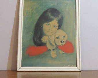 "Lovely kitsch ""Puppy Love"" print by Lou Shabner"