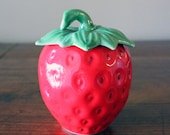 Red Vintage Ceramic Strawberry Jar