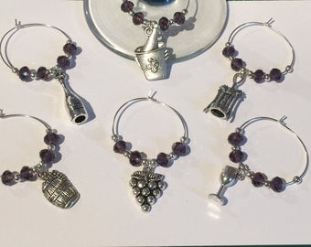 6 x Wine Glass Charms (wine lovers)