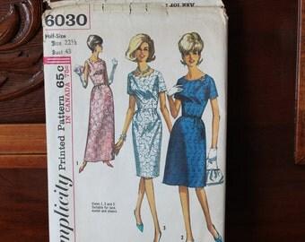Simplicity 6030 Dress Pattern, 60's Dress, Half Size  22 1/2 Pattern