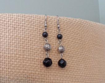Black Plastic And Silver Metal Bead Dangle Earrings