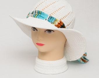 White Crochet Hat Summer hat Sun Hat Wide Brim Hat Beach Hat Women Hat With Ribbon Womens Gift Idea Women Sun Hat With Brim Acessories