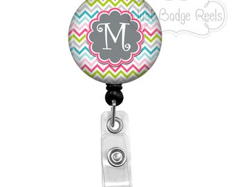 Retractable Badge Holder - Chevron Badge Reel - Nurse Badge Holder - Retractable Badge Reel - Initial Badge Reel -0052