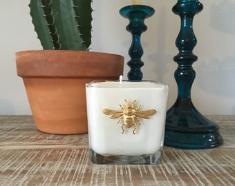 SET OF 3 - Summer outdoor candle! Bumble bee Embellished Candle - 100% soy wax with natural CITRONELLA candle - bug repellent candle