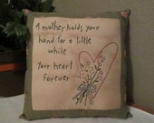 Inspirational Pillow for Mother - Hand Embroidered