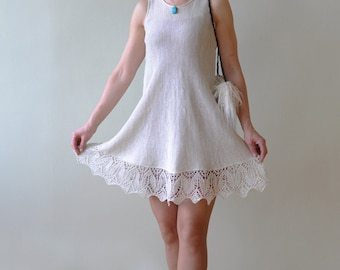 White Linen Dress with Hand Knitted Lace
