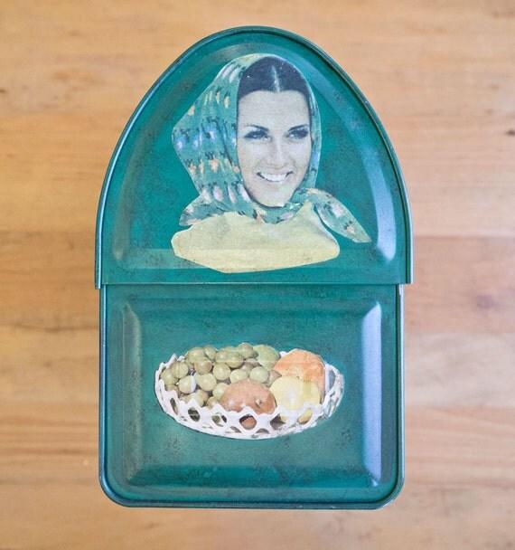 Vintage Decoupage Hand Painted Metal Lunchbox