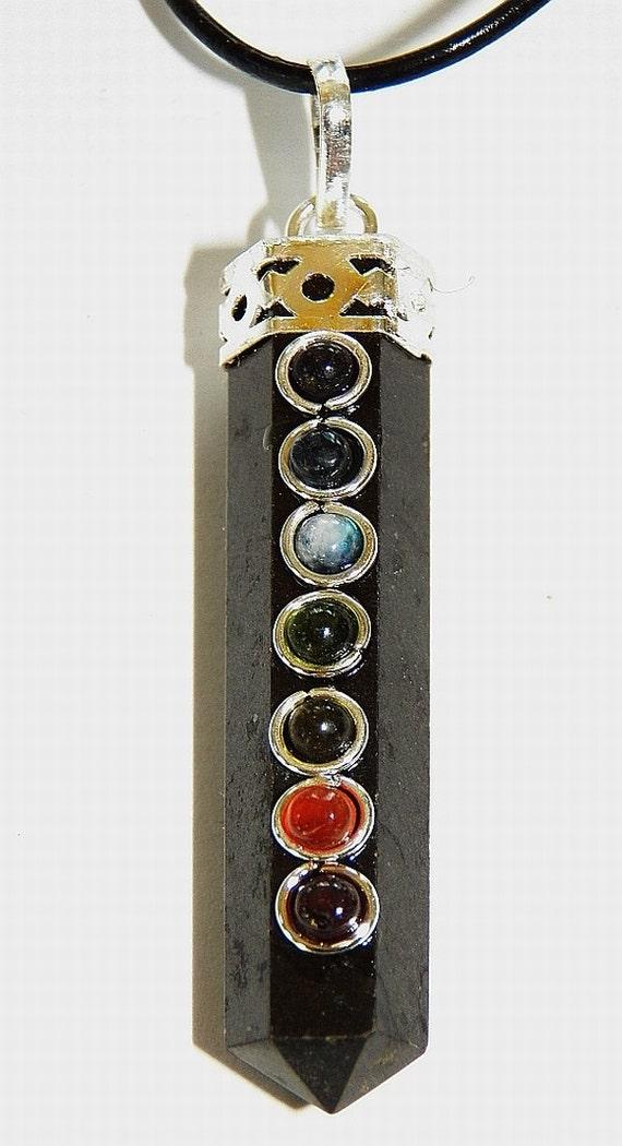 black tourmaline pendant with 7 chakra by