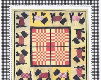 Puppy Parade Scottie dog applique and strip pieced quilt pattern by Sandy Klip for American Jane Patterns #147  K702