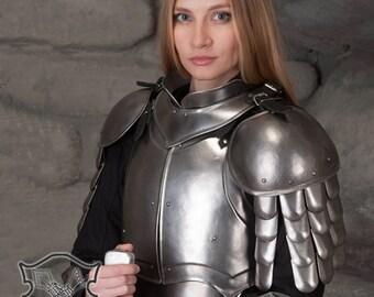 "Larp Female Fantasy Costume ""Iron Lady"" steel  armor FULL set: bracers, pauldrons, gorget, cuirass, greaves"