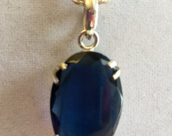 Large Tanzanite Gemstone Necklace, Tanzanite and Sterling Silver Necklace