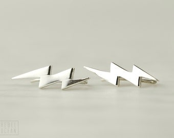 Sterling Silver Ear Cuff Lightning Bolt Ear Sweep Pin Earrings Boho Jewelry - FES009 T1
