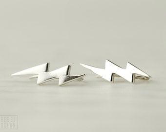 Sterling Silver Ear Cuff Lightning Bolt Ear Sweep Pin Earrings Boho Jewelry - FES009 T1