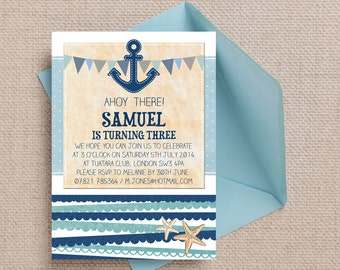 Blue Anchor and Bunting Nautical Sailor Kids Party Invitation Cards