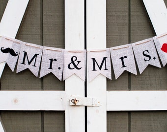 Mr and Mrs Burlap Banner, Mustache and Lips Burlap Banner, Wedding Burlap Banner, Wedding Photo Prop, B085