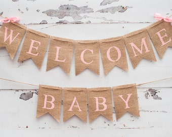 Weclcome Baby Banner Baby Name Banner Pastel Nursery Decor