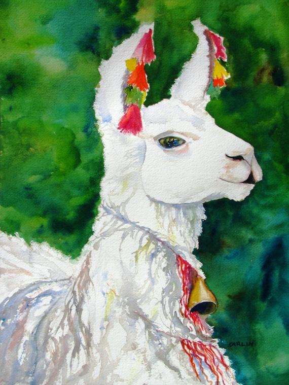 Original Watercolor Painting White Alpaca By