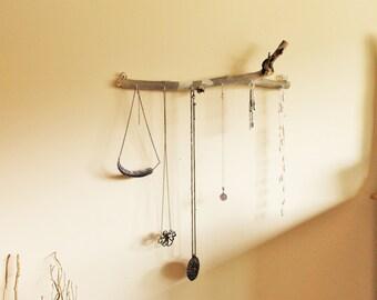 Wooden wood branch stick jewelry key holder hanger