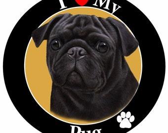 I Love My Pug Car Magnet, Pug Gifts