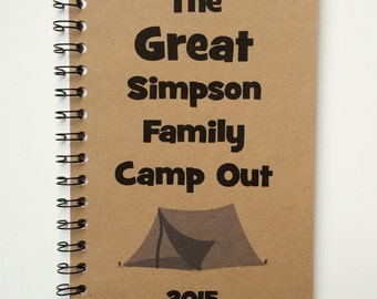 Camping Journal, Notebook, Camp notebook, Camp, Vacation, Personalized, Journal, camping, Sketchbook, Family Camping Trip, Blank, Lined