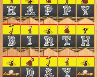 Curious George Birthday Banner Chalkboard * Curious George Birthday * Curious George Banner * Curious George Favors