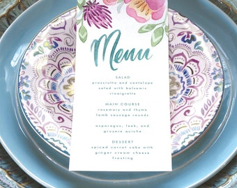 Easter Party Printable - Menu Card - Instant Download - Personalize and Print Yourself