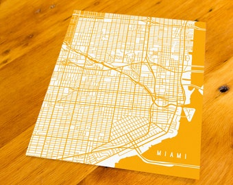 Miami, FL - Map Art Print  - Your Choice of Size & Color!