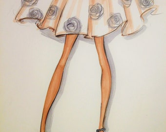ORIGINAL Fashion Illustration-Roses Skirt